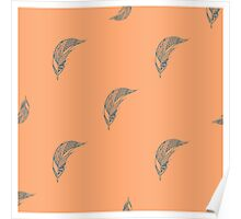 Seamless pattern with hand drawn feather Poster