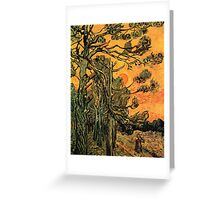 'Pine Trees Against A Red Sky with a Setting Sun' by Vincent Van Gogh (Reproduction) Greeting Card