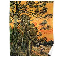 'Pine Trees Against A Red Sky with a Setting Sun' by Vincent Van Gogh (Reproduction) Poster