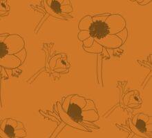 Retro flowers on stems. Seamless pattern.  Sticker