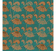 Retro brown flowers on stems. Seamless pattern.  Photographic Print