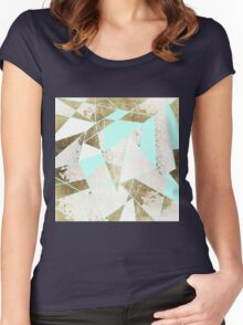 Modern Rustic Mint White and Faux Gold Geometric Women's Fitted Scoop T-Shirt