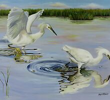 Snowy Egret Hunting Party by Phyllis Beiser