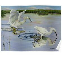 Snowy Egret Hunting Party Poster