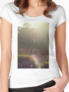 view across Trojan pond, near Goble, Oregon with lens flair Women's Fitted Scoop T-Shirt