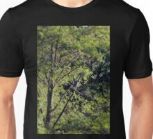 Great Blue Heron in the trees by Trojan pond, near Goble, Oregon Unisex T-Shirt