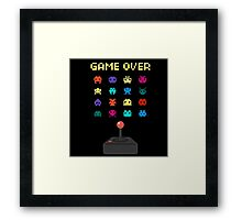 Game Over 8bit Video Game Space invaders Vintage Graphic T-shirt Framed Print