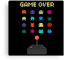 Game Over 8bit Video Game Space invaders Vintage Graphic T-shirt Canvas Print