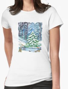 Winter Spruce Tree Womens Fitted T-Shirt