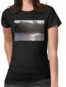 view across Trojan pond, near Goble, Oregon with flare Womens Fitted T-Shirt