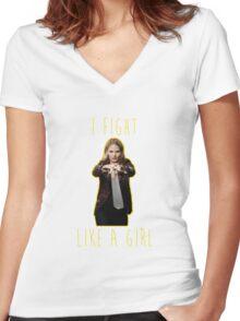 Emma Swan - I fight like a girl Women's Fitted V-Neck T-Shirt
