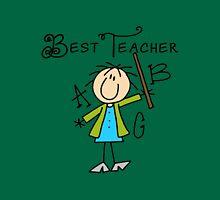 Stick Figure Best Teacher ABC Womens Fitted T-Shirt