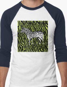 Zebra - animal colour pop art Men's Baseball ¾ T-Shirt