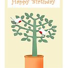 Two birds in a tree, Happy Birthday. by Mary Taylor