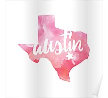 Austin, Texas - pink watercolor Poster