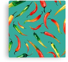- Chilli pattern (turquoise) - Canvas Print