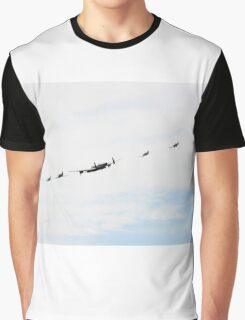 British Bomber Lancaster flying formation with four fighters. Graphic T-Shirt