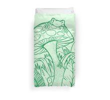 Green frogs climbing on mushrooms Duvet Cover