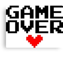 [White] Game Over My Love Canvas Print
