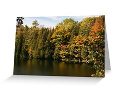 Tress  in Fall colours around the lake and their reflection in the water.  Greeting Card