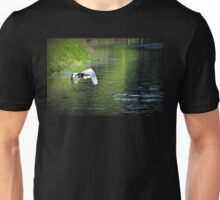 Great Blue Heron in flight, Trojan pond, near Goble, Oregon 3 Unisex T-Shirt