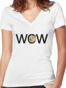 WOW Doge Women's Fitted V-Neck T-Shirt