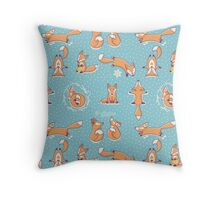Red little foxes in the snow Throw Pillow