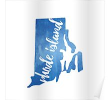 Rhode Island - blue watercolor Poster