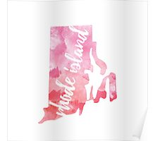 Rhode Island - Pink watercolor Poster