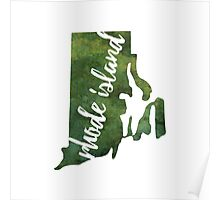 Rhode Island - green watercolor Poster