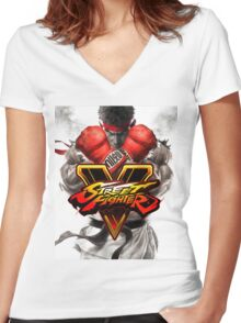 street fighter 5 Women's Fitted V-Neck T-Shirt