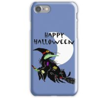 Happy Halloween, Witch on broomstick with black Cat. iPhone Case/Skin
