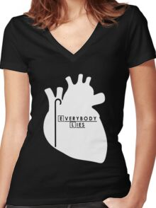 House - Everybody Lies Women's Fitted V-Neck T-Shirt