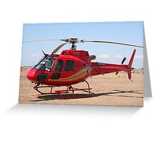 Helicopter, red, aircraft Greeting Card