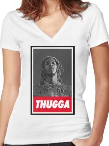 Young thug [4K] Women's Fitted V-Neck T-Shirt