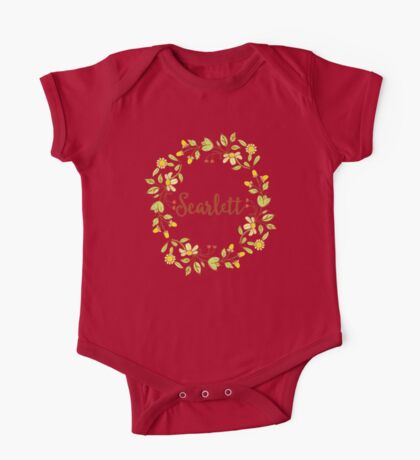 Scarlett lovely name and floral bouquet wreath One Piece - Short Sleeve