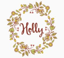 Holly lovely name and floral bouquet wreath One Piece - Long Sleeve