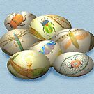 Happy Easter Embroidered Eggs by Mary Taylor