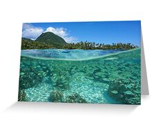 Tropical shore split with fish school underwater Greeting Card