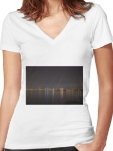 Melbourne lit up at night across the bay Women's Fitted V-Neck T-Shirt