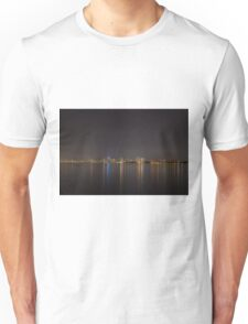 Melbourne lit up at night across the bay Unisex T-Shirt