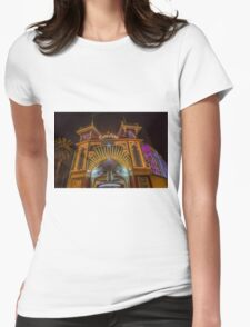 Melbourne's Luna Park at Night Womens Fitted T-Shirt