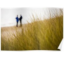 Dune grass with people on beach Poster