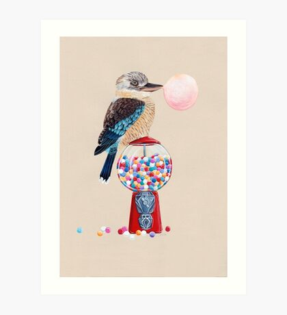 Bird gumball machine Kookaburra Art Print