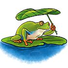 Frog with Leaf Umbrella by OhBillie