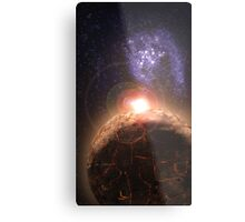 Planet falls inline with Bright star and Seperate Galaxy Metal Print