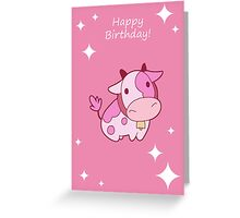 """Happy Birthday"" Pink Cow Greeting Card"
