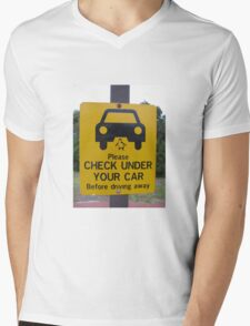 penguin parade warning sign Mens V-Neck T-Shirt