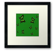 Green Butterflies Framed Print