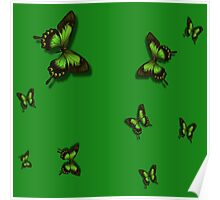 Green Butterflies Poster